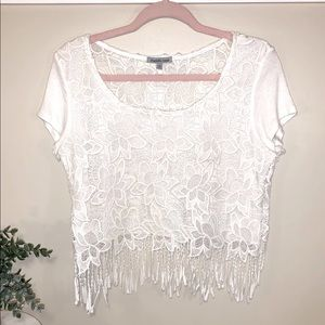 White lace/floral crop top with fringe size large